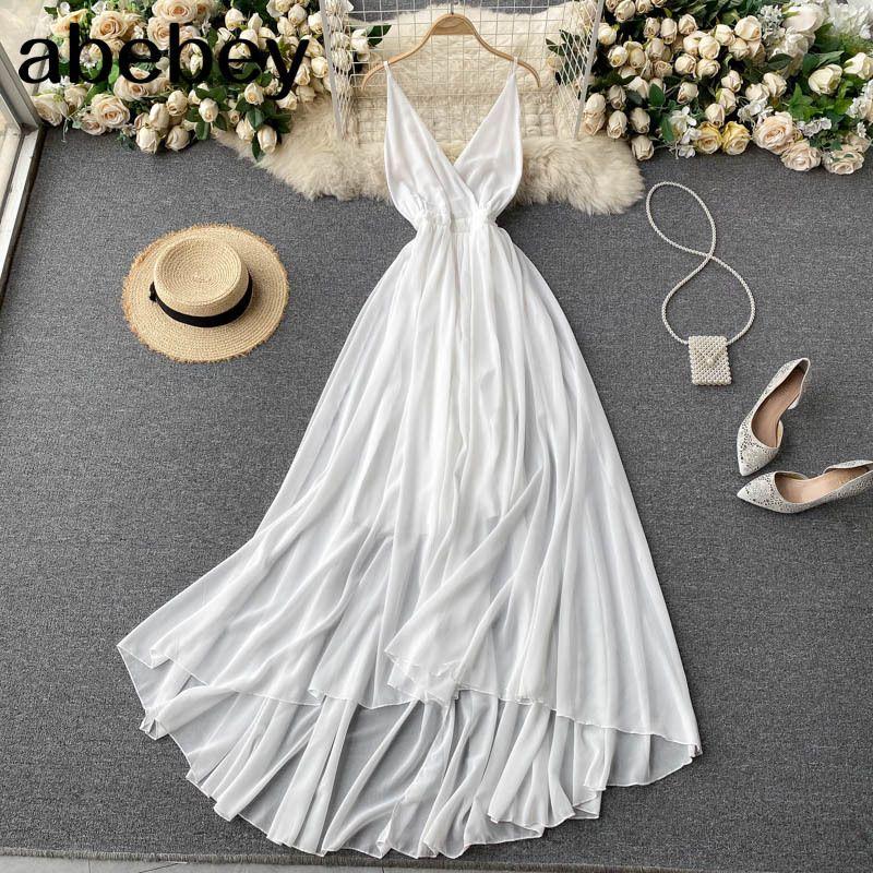 Frauen koreanische Strap Kleid sexy v-neck ärmellose elegante solide party sommer schulter a-line strand midi 210512