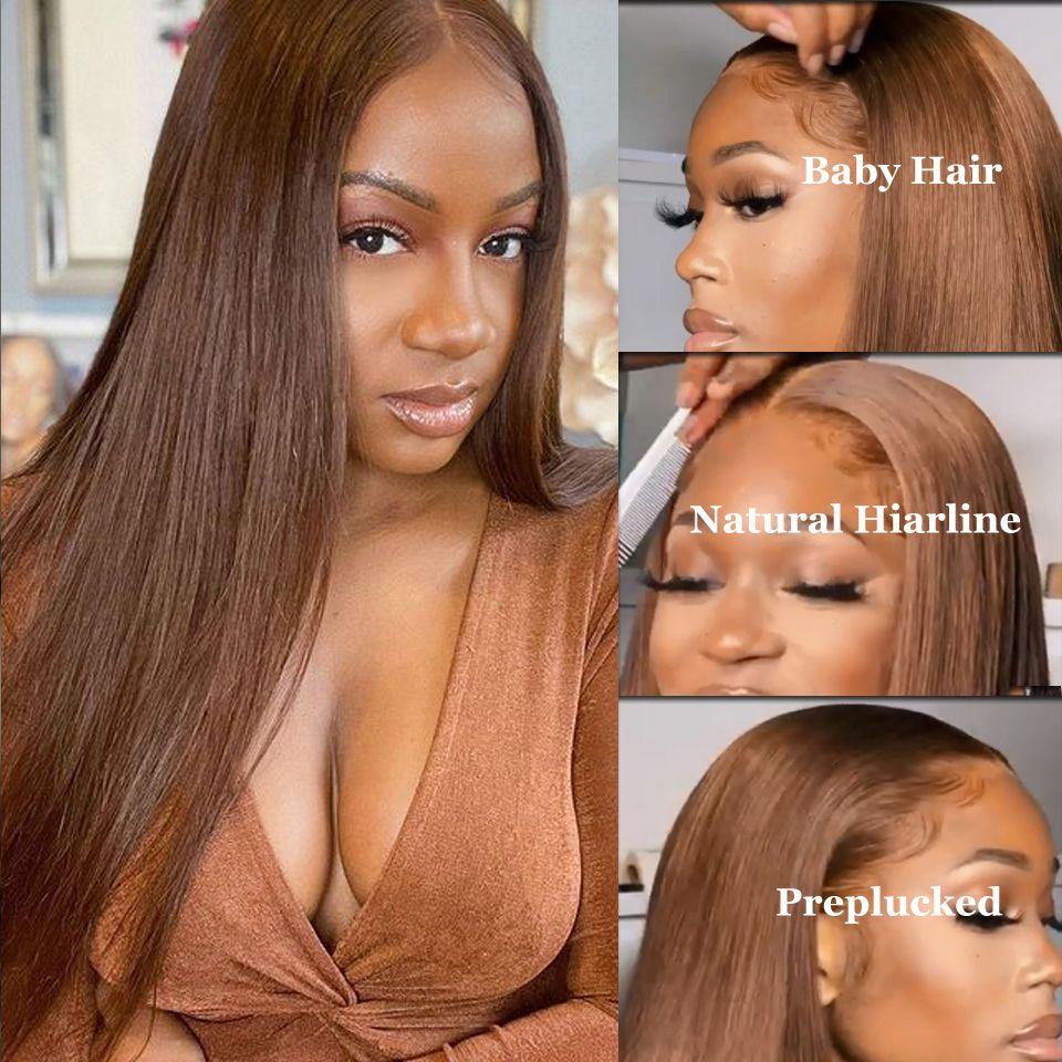 حريري مستقيم الشعر البشري 4x4 13x4 الرباط أمامي الباروكات الضوء البني 4 # اللون قبل التقطه شعري الطبيعي