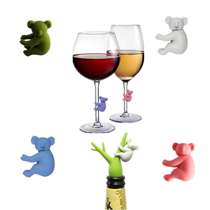 Koala كأس شريط أدوات المعرفة النبيذ الزجاج كؤوس معرف سيليكون العلامات حزب النظارات نظارات مخصصة علامة 6 قطعة / المجموعة 748 B3