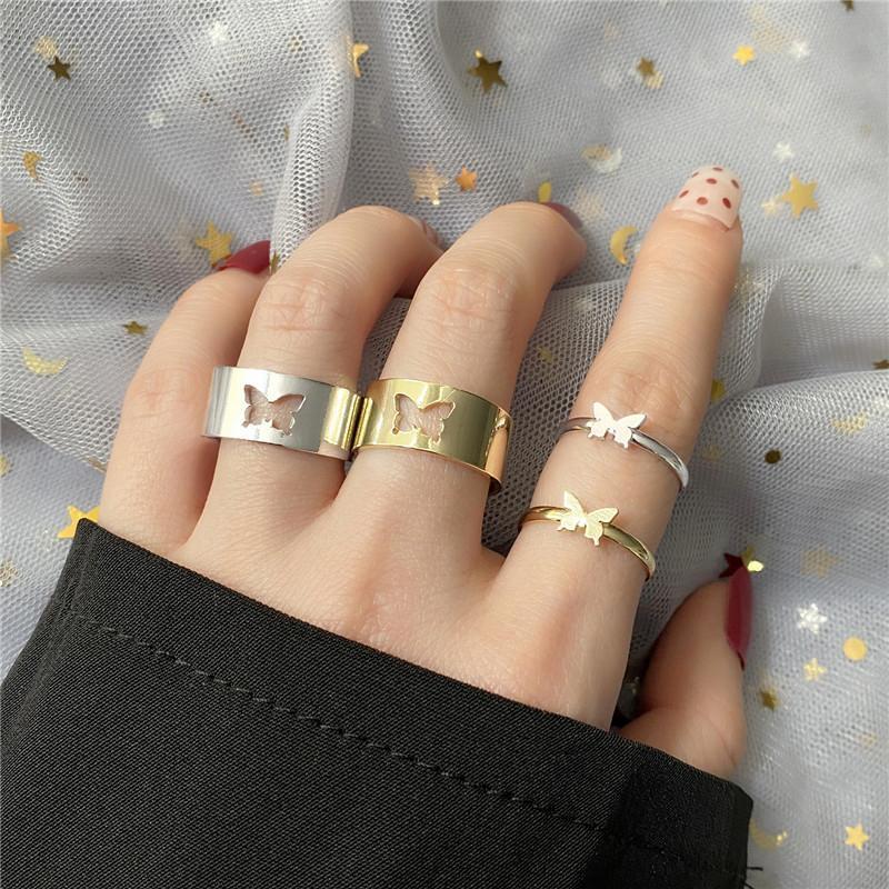 Anéis de cluster 2pcs Borboleta na moda para mulheres homens amantes casal conjunto lua estrela golfinho ajustável dedo aberto festa jóias