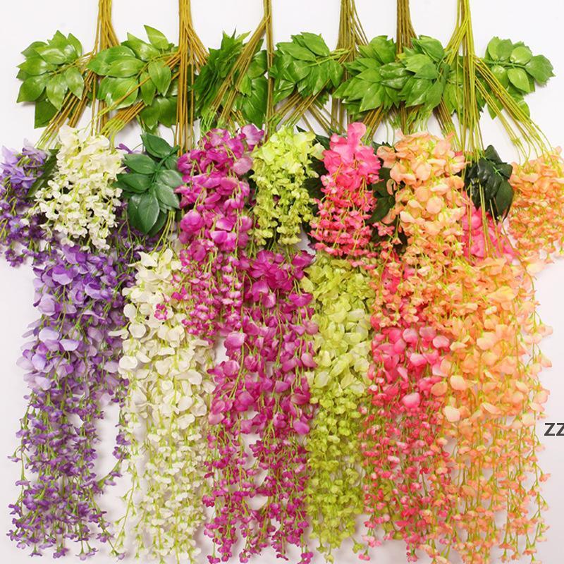 110cm Artificial ivy flowers Silk Flower Wisteria Vine flower Rattan for Wedding Centerpieces Decorations Bouquet Garland HWF10244