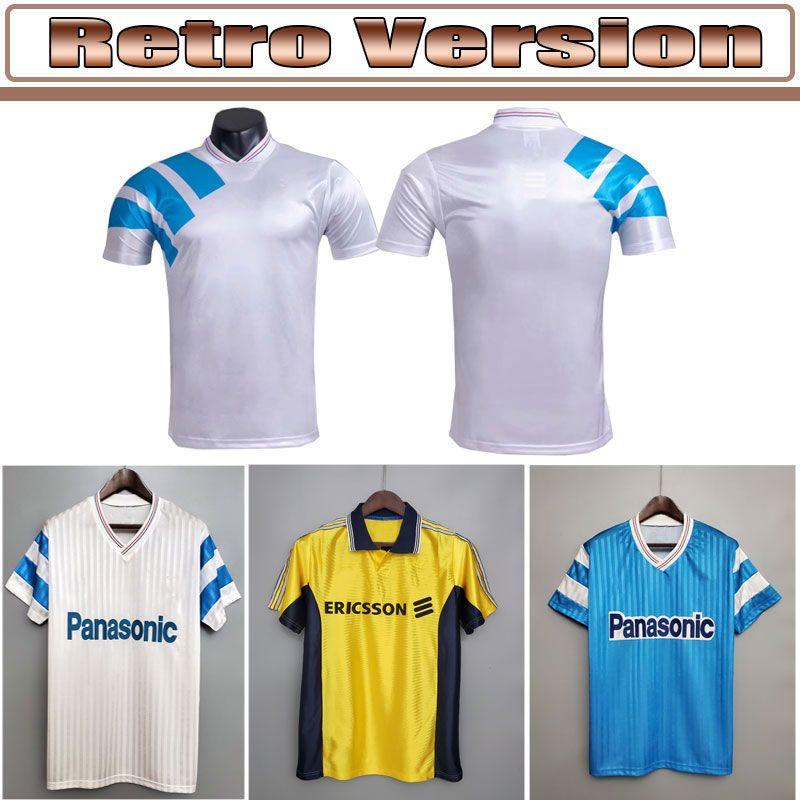 레트로 올림픽 드 마르세이유 1992/93 축구 유니폼 Futbol Maillot 빈티지 키트 축구 Camiseta 클래식 셔츠