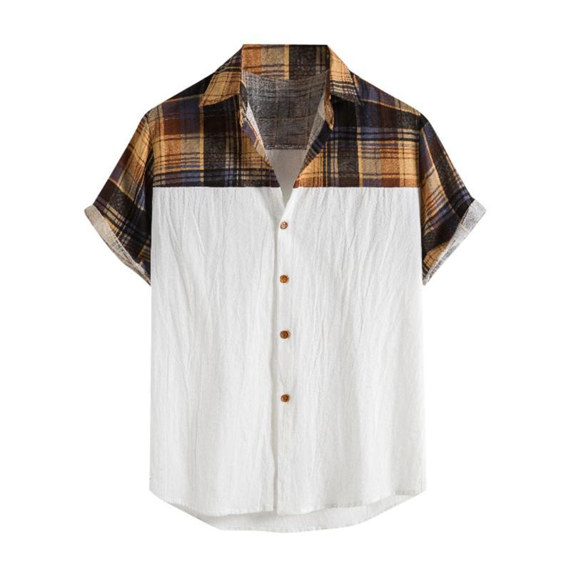 Style männer hawaiianer strand shirt floral karierte druck shirts tops casual kurzarm sommer urlaub urlaub mode plus größe