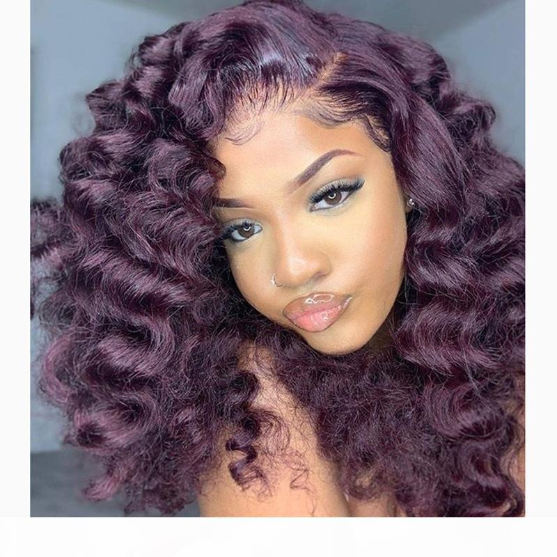 Onda solta indiana escura roxo 13x6 dianteira perucas de cabelo humano com cabelo bebê 360 laço frontal frontal peruca de renda natural natural branqueada