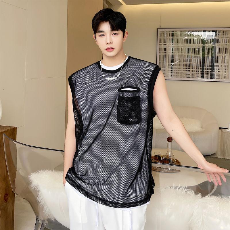 Summer Trendy Men's Beach Sleeveless Top Casual Thin Lemon Yellow Transparent Mesh T-shirt Mens Hip Hop Tank Vests