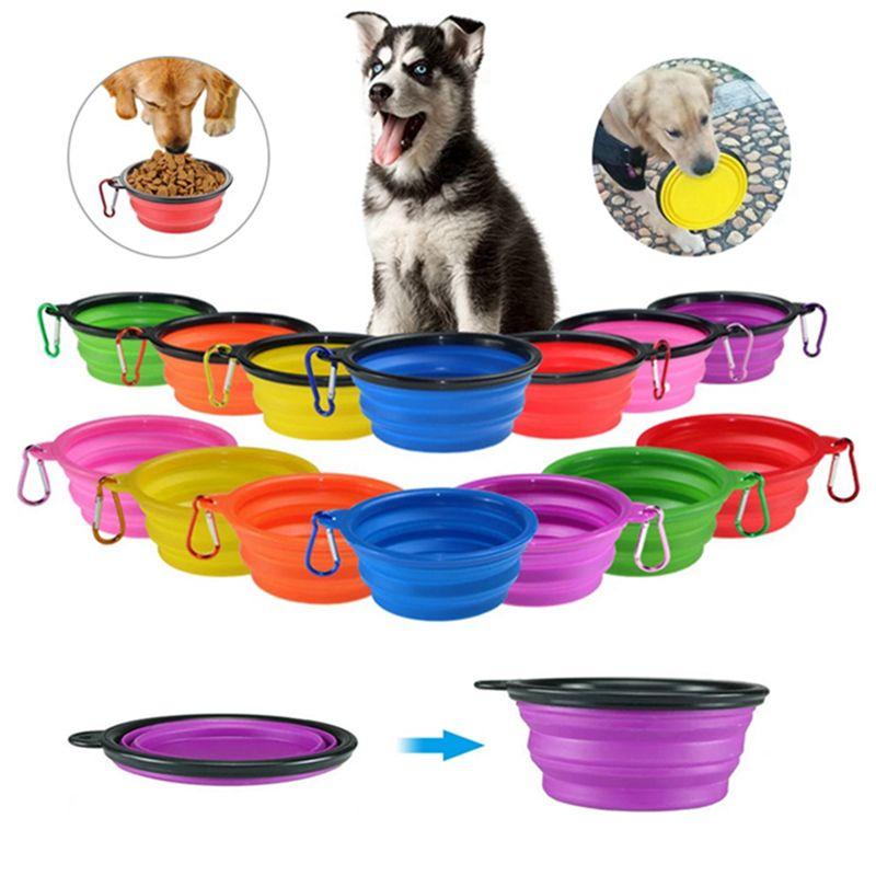 Cuencos de perro plegable Tazón de silicona Cuenco de silicona Portátil plegable PET CABLE Alimento Alimentación de agua Al aire libre Accesorios de mascotas WLL537
