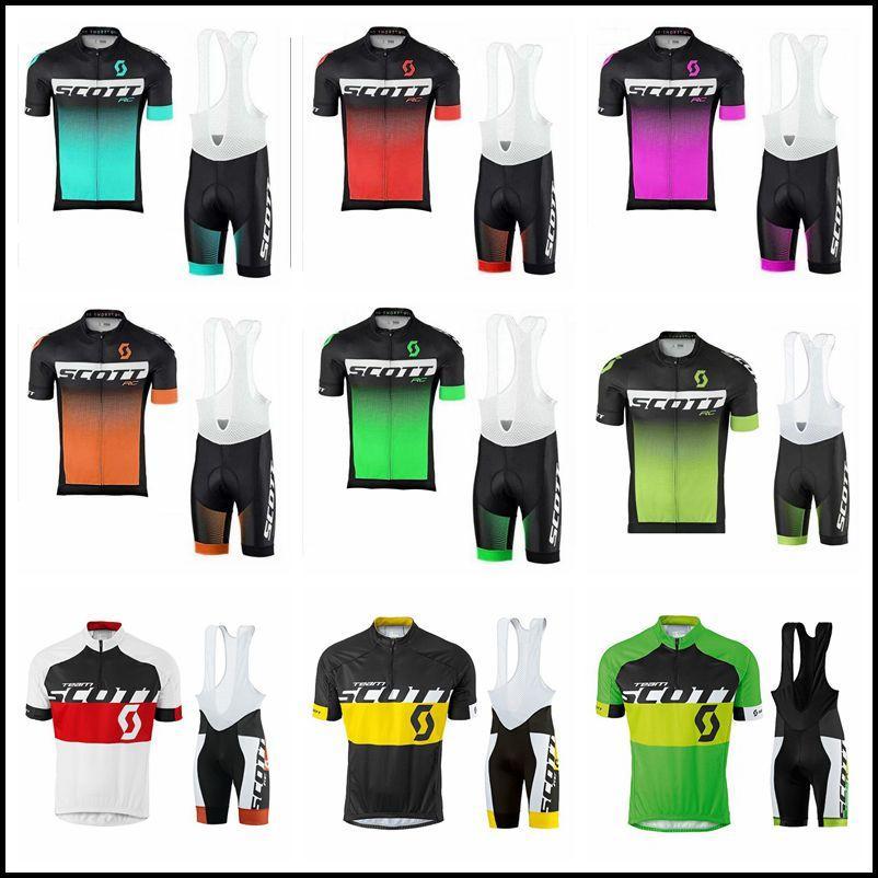 رجل سكوت فريق الدراجات جيرسي مريلة السراويل مجموعات تنفس سباق دراجة موحدة قصيرة الأكمام mtb الدراجة الملابس Y21032213