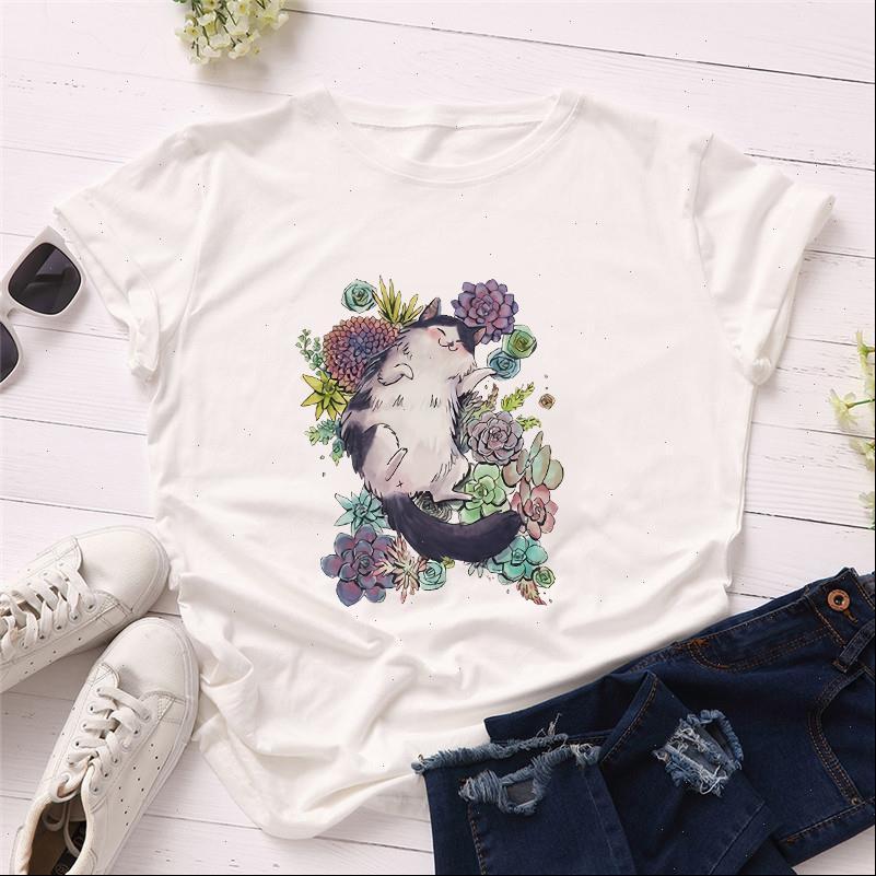 Womens T-shirt Sommer frauen shirts kurze hülse lässig nette kawaii katze blume drucken grafische mädchen damen kleidung weich