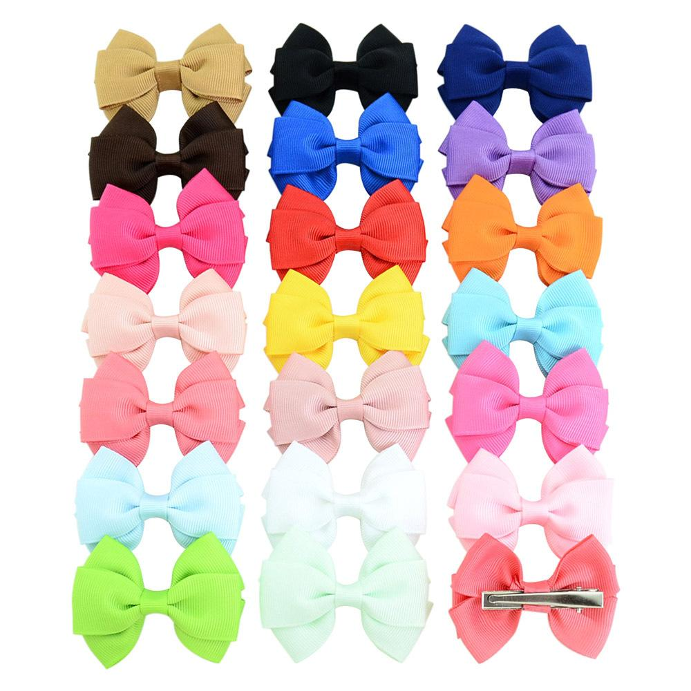 Baby Girls Bowknot Grosgrain Hairpins Solid Ribbon Bows With Alligator Clips Childrens Hair Accessories Kids Boutique Double layer Bow Barrette KFJ282