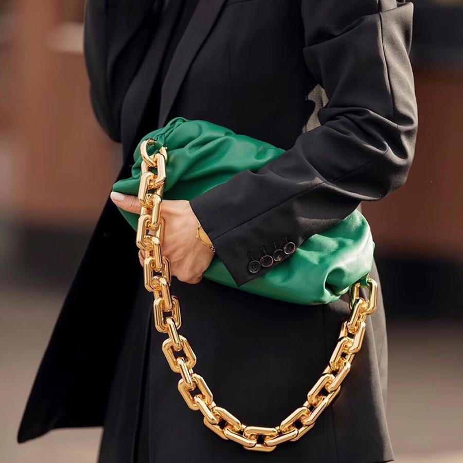 سميكة معدنية سلسلة سحابة حقيبة فاخرة العلامة التجارية حقائب الكتف 2021 أحدث نمط المشاهير ستار جلد طبيعي المرأة أزياء الزلابية مخلب حقيبة ناعمة الإبط حقيبة