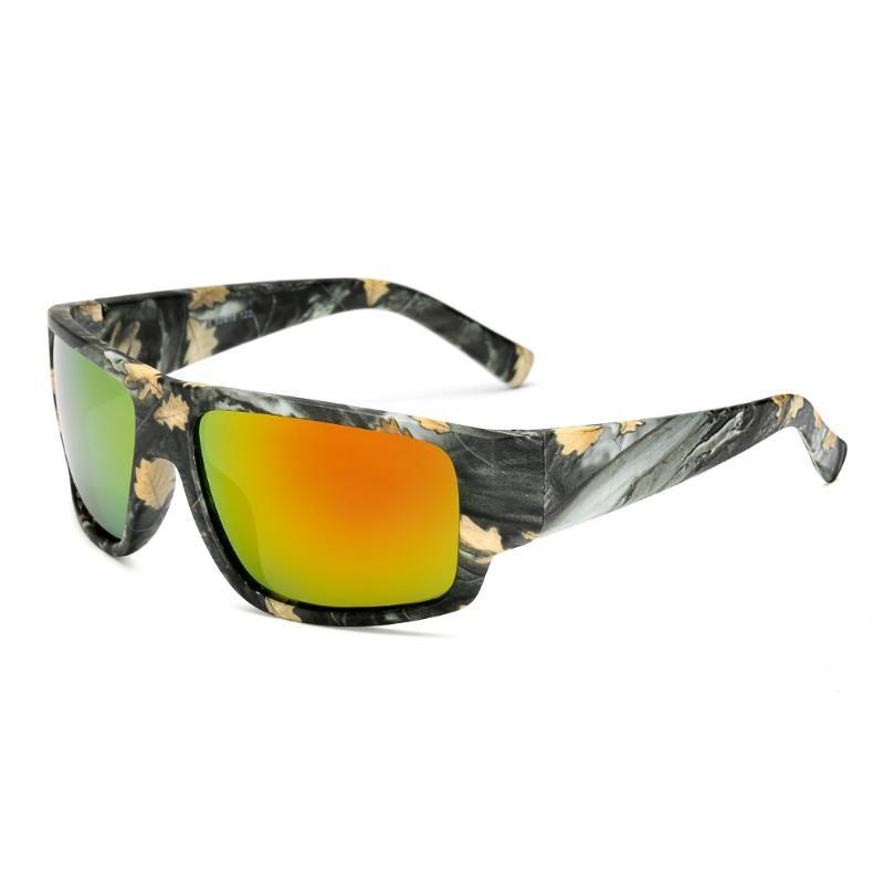 Lunettes de soleil Mens Square Square Sports Polarized Lens Couleur Film Cadre de camouflage Verres foncé Accessoires de protection solaire pour femmes