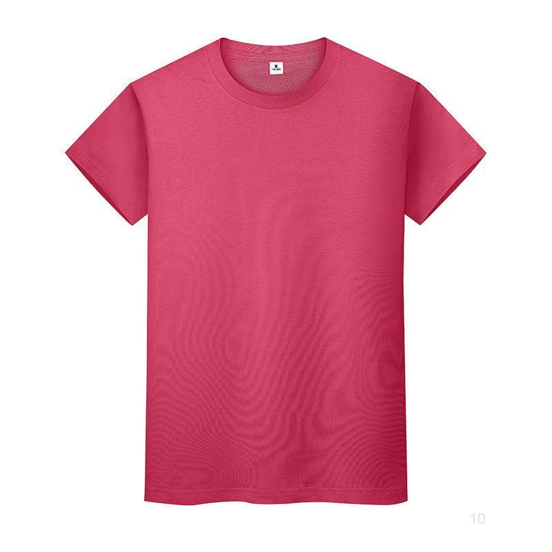 Новая круглая шея сплошная цветная футболка летняя рубашка с хлопковым дном с короткими рукавами мужские и женские половины рукава Ikzcio