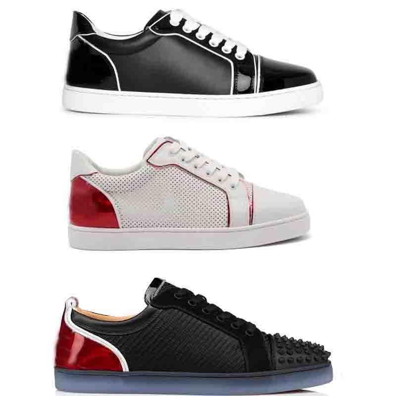 باريس جونيور أحذية مرتفعة حمراء أسفل ترصيع أحذية رياضية منخفضة الأعلى الشقق متعة viera جلد حذاء ثقب شبكة جلد طبيعي المدربين عداء الرياضة 35-47EU