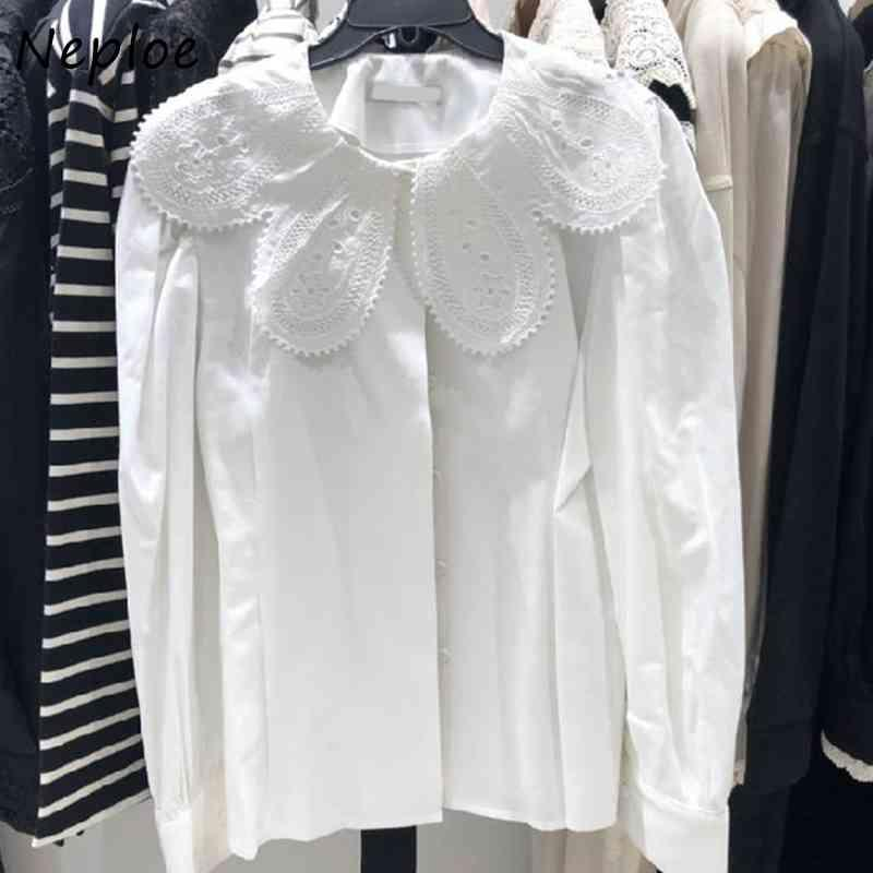 NAPOE Bebek Yaka Uzun Kollu Gevşek Bluz Kadın Çalışma Tarzı Ofis Bayan Katı Blusas Bahar Yeni Gömlek Feminino Tüm Maç 210421