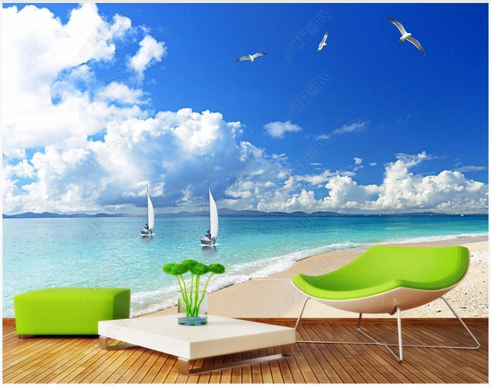 Özel po duvar kağıdı 3d Akdeniz duvar plaj manzara mavi gökyüzü ve beyaz bulutlar tv arka plan duvar dekorasyon duvar kağıtları