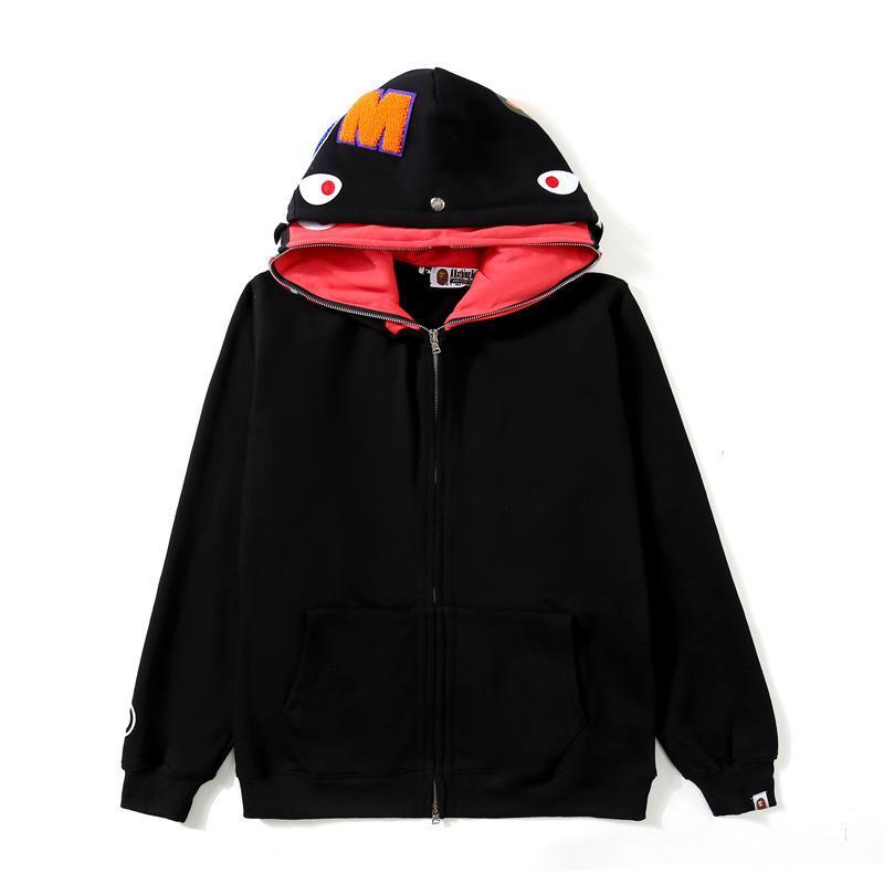 70% de desconto no apuramento chao macaco cabeça tubarão casaco homens e mulheres idênticas chapéu duplo hoodie bordado carta solta camisola