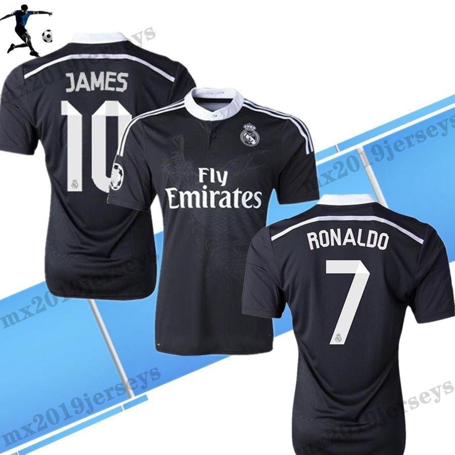 التنين الصيني 2014 15 رونالدو تشيتشاريتو بنزيما بيل ISCO جيمس ريال مدريد ريتريد لكرة القدم جيرسي 14 15 خمر ثالث قميص كرة القدم الأسود