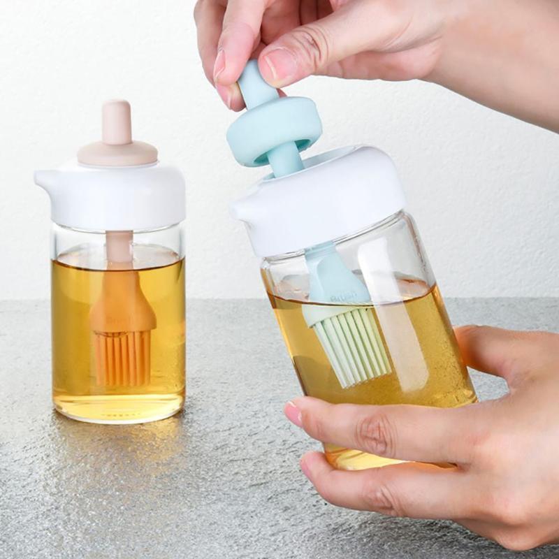 Storage Bottles & Jars 230ml Multi-use Oil Pot Household 2 In 1 Glass Large Caliber Elastic Brush Pump Bottle Kitchen Press Barbecue Spray
