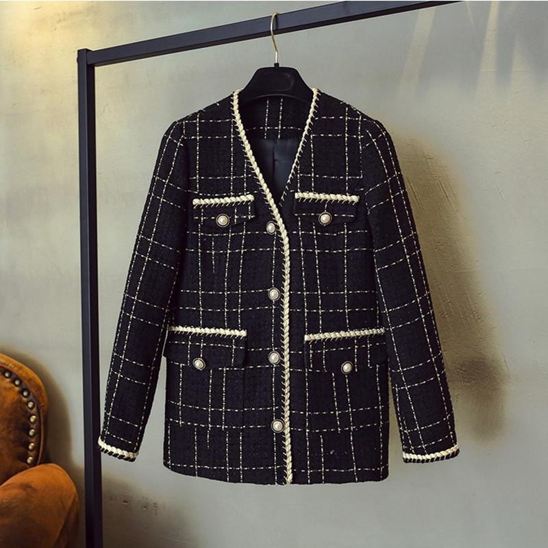 ZAWFL Luxury Designer Marke Wollmischungen Mantel Für Frauen Mode Schwarz Vintage V-Ausschnitt Plaid Wide Taille Tweed S-XXL