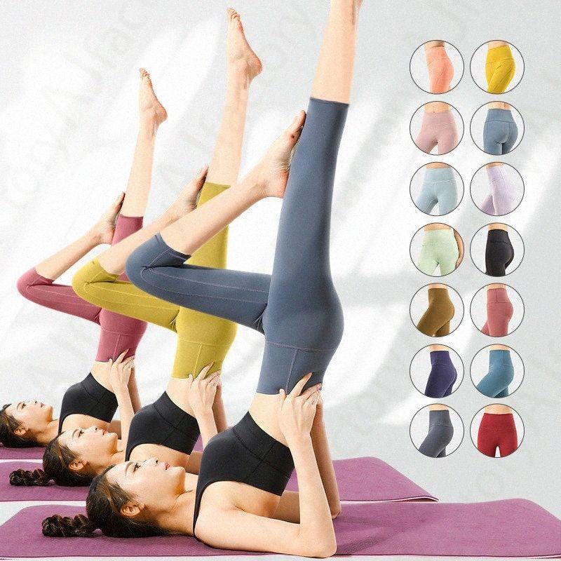 2021 donne yoga outfit altamente elastico tessuto flessibile in esecuzione leggera pantaloni di sentimento nudo leggero abbigliamento fitness ladies ladies lug marca pantaloni corniciati leggings