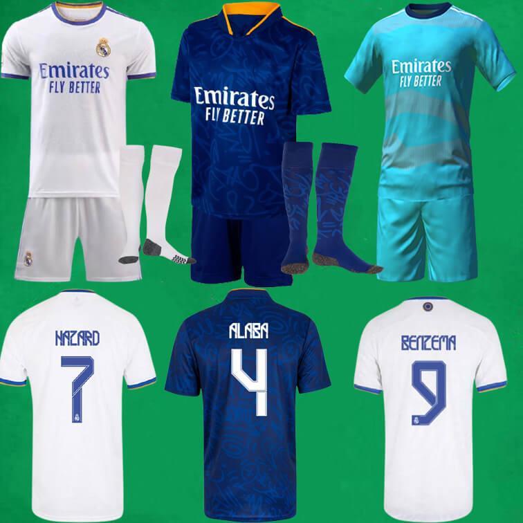 21 22 REAL MADRID Fussball Trikots Kits Home Away Dritter Camisa Gefahren Alaba Benzem Asensio Modric Football Shirts Shorts Socken 2021 2022 Männer Kinder Sets Stocking