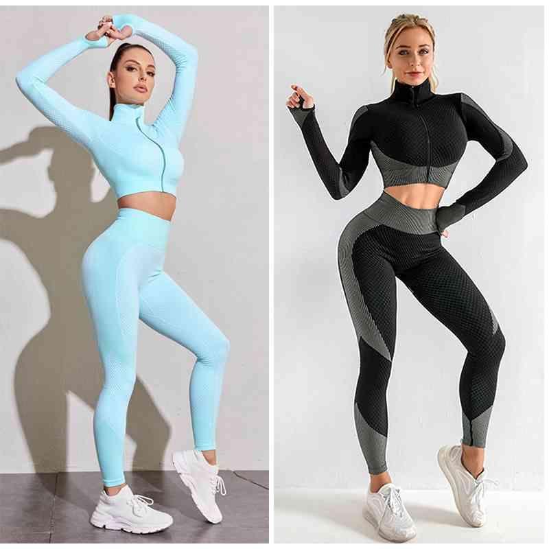 Women's Tracksuits 2/3/PCS Energy Seamless Yoga Set Women Workout Fitness Clothes Long Sleeve Shirts High Waist Running Leggings Pants 4K2Q