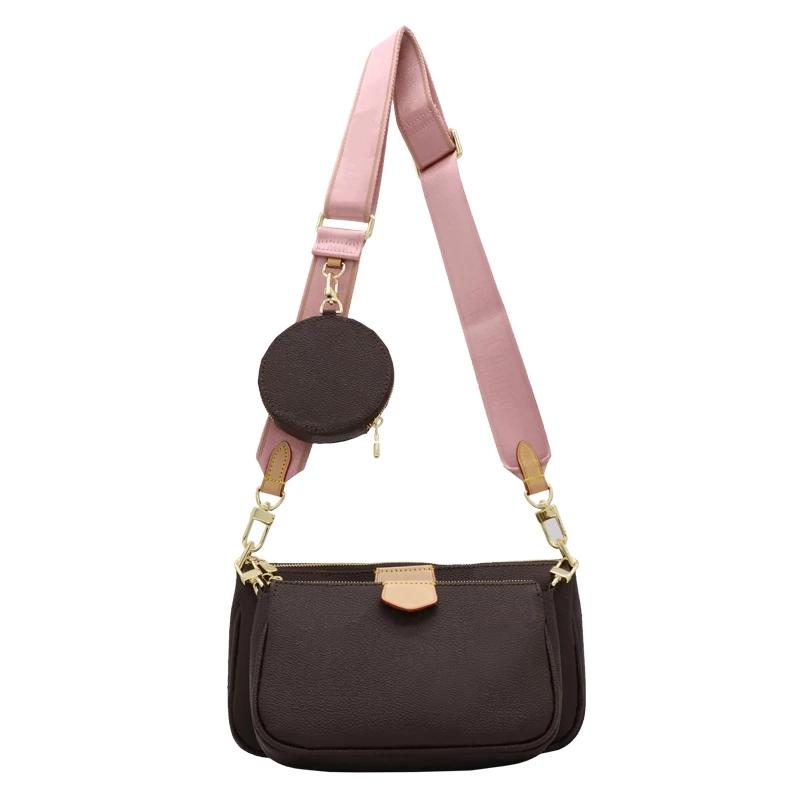 HH Handbags Cowhide Clutch Luxury Fashion M0N0 Classic Bag M44823 Genuine Leather Small Pochette 3in1 Women Three-piece Designer Shoulder Purse