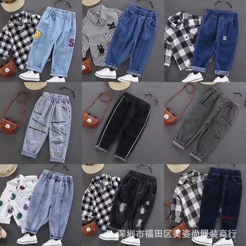 KINDER-Jungen Herbst und Winter Koreanische Jeans 20 neue Kinder-Plüschhose