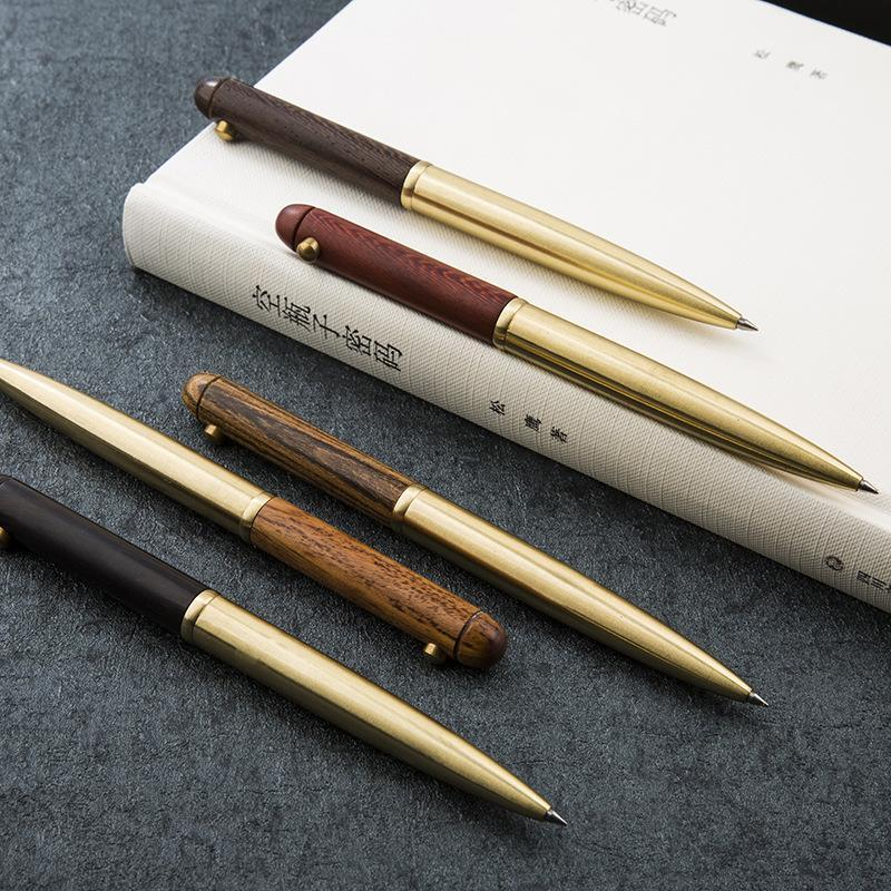 Ballpoint Pens 1Pcs High Quality Wooden Rotary Metal Stationery Pen, For Business & Office Gift, 0.5mm