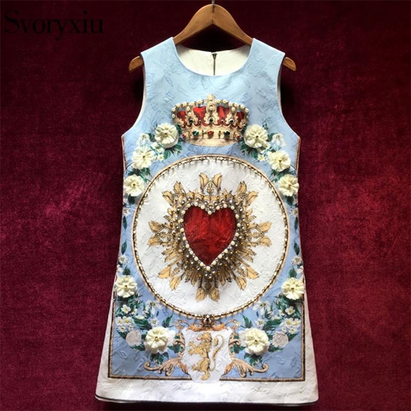 Svoryxiu взлетно-посадочная полоса пользовательских летних жаккардовых платьев женщин роскошные бисероплетение хрустальные аппликации печатная вечеринка без рукавов короткое платье 210320