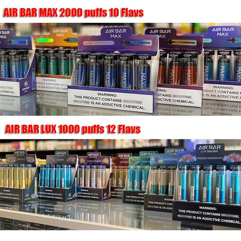Barre d'air MAX LUX jetable VAPE E CIGRAETTE POP POD POD PODS INDUSTÉ 1250MAH Batterie PODS 2000 Puffs DAB Kit de démarreur VS Puff Plus Bang XXL