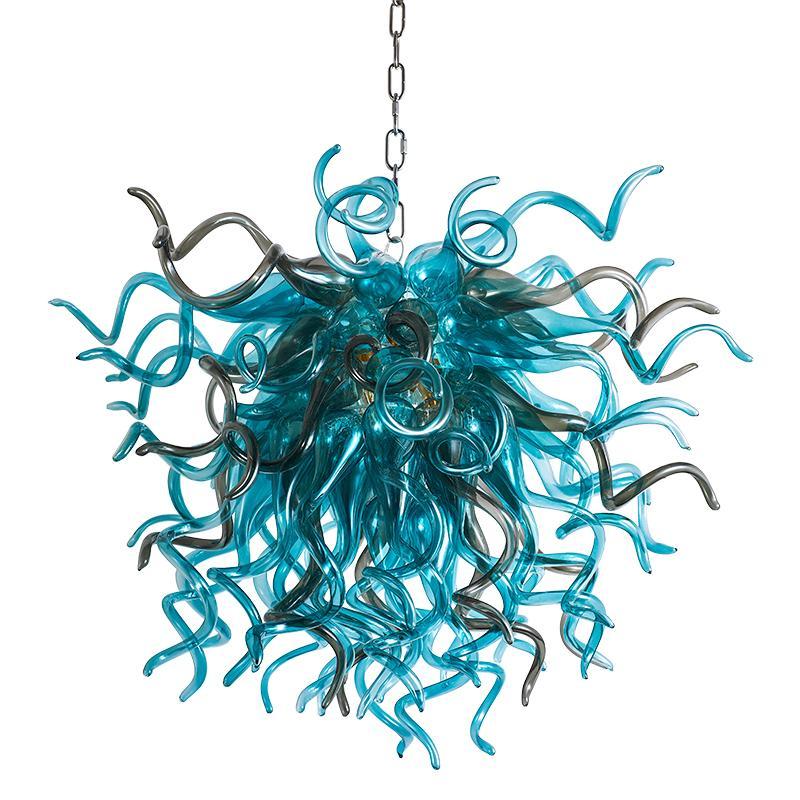 Moderne Pendelleuchten blau grau LED Kette Kronleuchter für Wohnzimmer Essen 80cm Breite und 70 cm Hohe Hängelampe Küche Schlafzimmer Startseite Kunst Dekor Beleuchtung