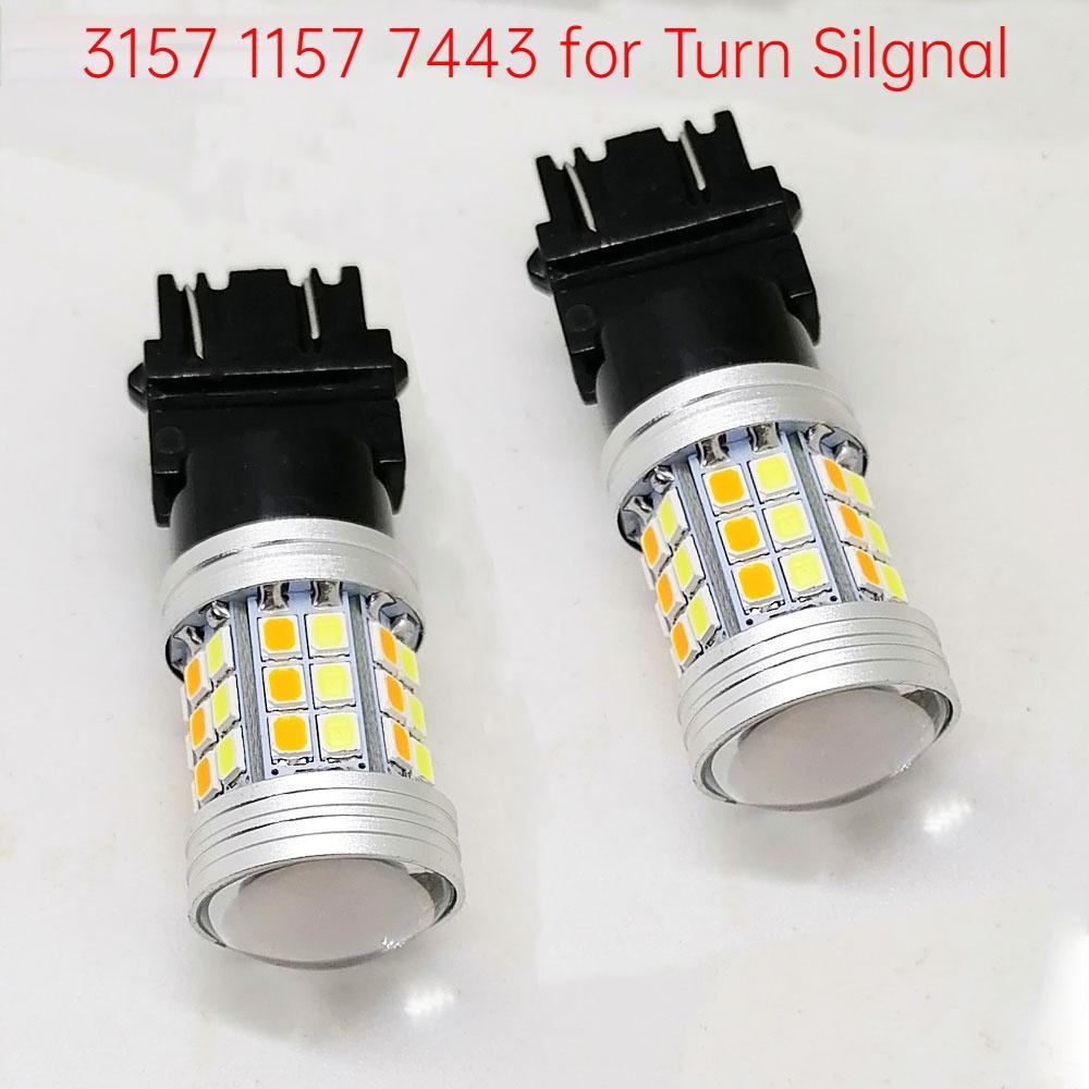 T25 3157 1157 7443 LED Birne Auto Umdrehungssignal Bremse Dual Color Light 45SMD 2835LED Autofahrer Wendelampe 12V weiß gelb
