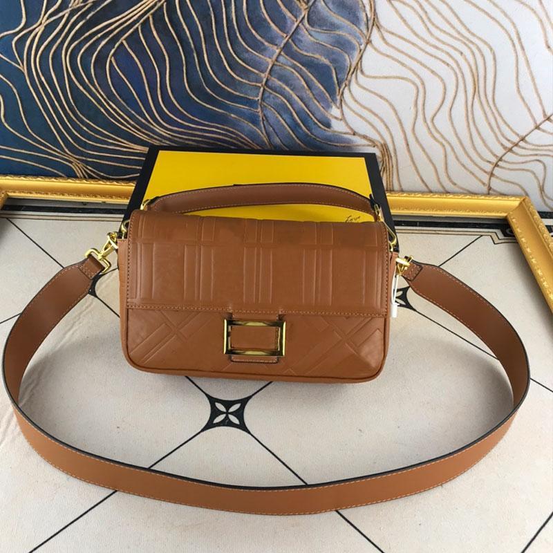 Flap Crossbody Handbag Purse Women Baguette Shoulder Bags Genuine Leather Embossed F letter Messenger Bag Golden Hasp Detchable Strap Lady Tote High Quality