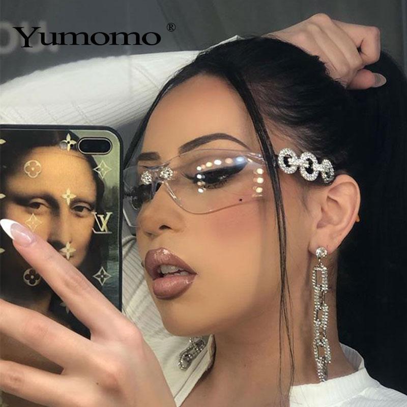 Yumomo Crystral Sunglasses Femmes Hommes Fashion Personnelle Painlicité Protection UV Blu Jaune UV400 Miroir Feminino de Sol Gafas