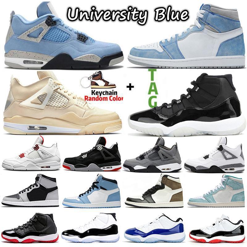 2022 Jumpan Chaussures de basketball 4 4S Shimmer White White Oreo University Blue 1 1S Mens Baskets High Og Pollen Entraîneurs Femmes 11 11S Basse Légende Chaussure de sport Taille 13 avec boîte