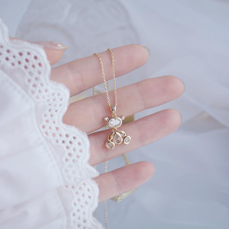 Conception exquise ours mobile femme collier 14k véritable or élégant zircon cadeau cadeau d'anniversaire bijoux Brincos chaînes