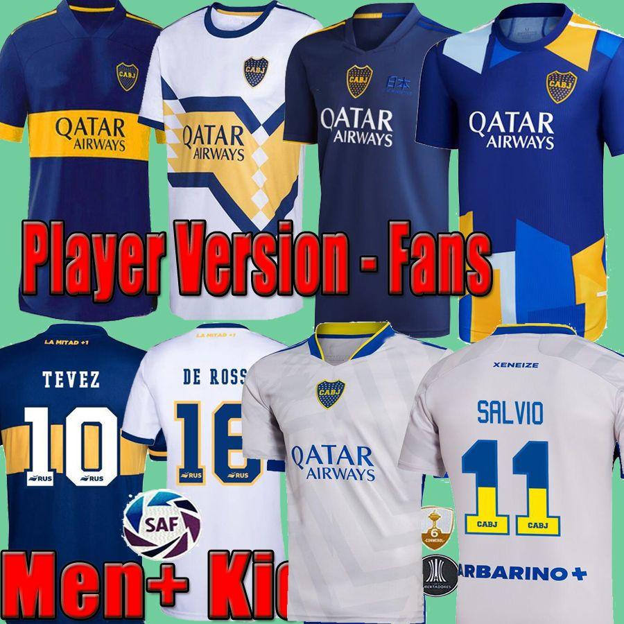 2021 2022 Boca Juniors Versión de jugadores Ventiladores Fútbol Jersey Cuarto 20 21 21 21 22 Tevez Maradona Moura Reynoso de Rossi Kit de camisa de fútbol Camisetas Fútbol Away