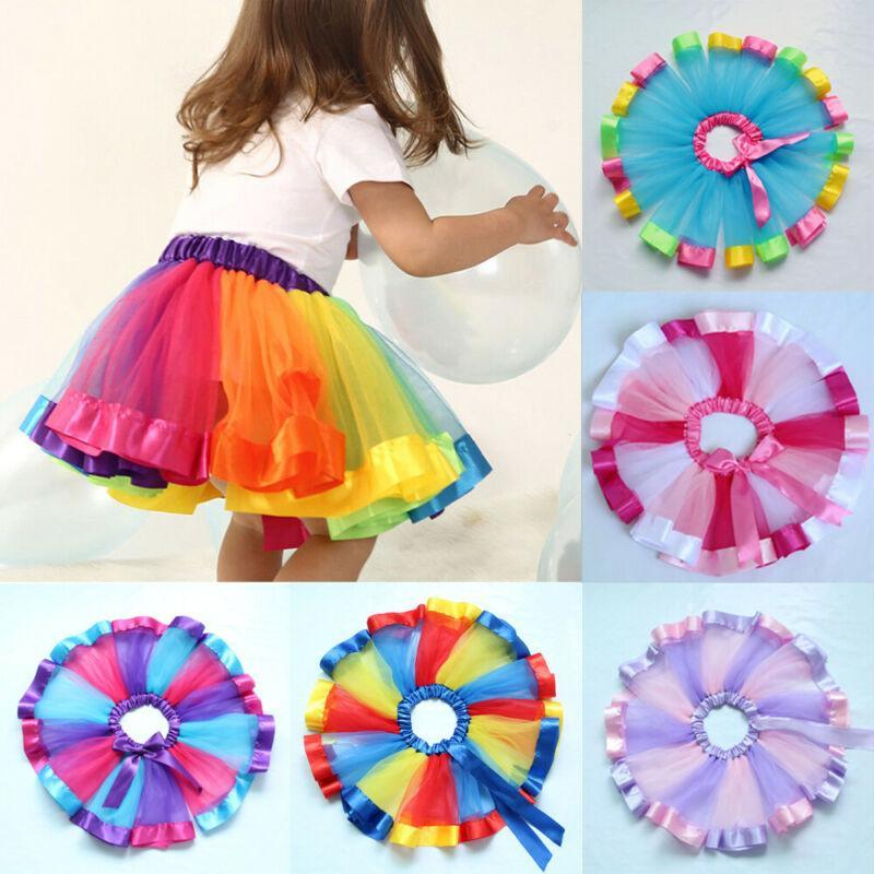 Sommer Kinder Tutu Rock Tüll Tanzballett Kleinkind Mädchen Prinzessin Kostüm Rainbow Bowknot Kurze Mini Party Kleidung Röcke