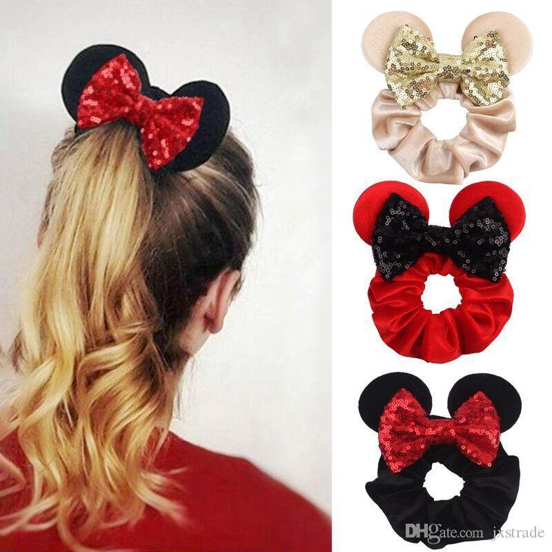 Nette Mäuseohren Stirnband mit Paillettenbogen für Kinder Mädchen Boutique Bling Haar Bögen Elastische Haarband Zubehör