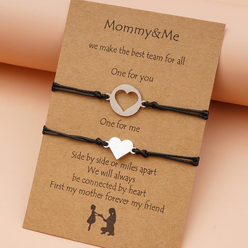 Frauen Mädchen Herz Armband mit Kartengeschenk für Mama Seil Link Muttertag Armbänder Modeschmuck Zubehör