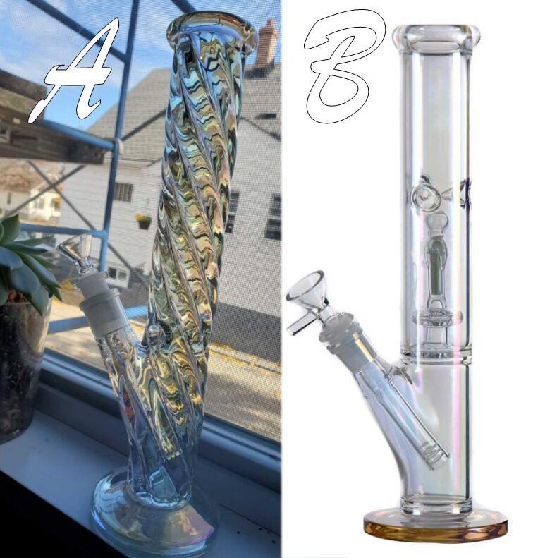 Lueur la nuit grande épaisse triple perc bong narguilée 18mm joint verre articulation shisha huile plate-forme percolateur tody rose pipes bongs