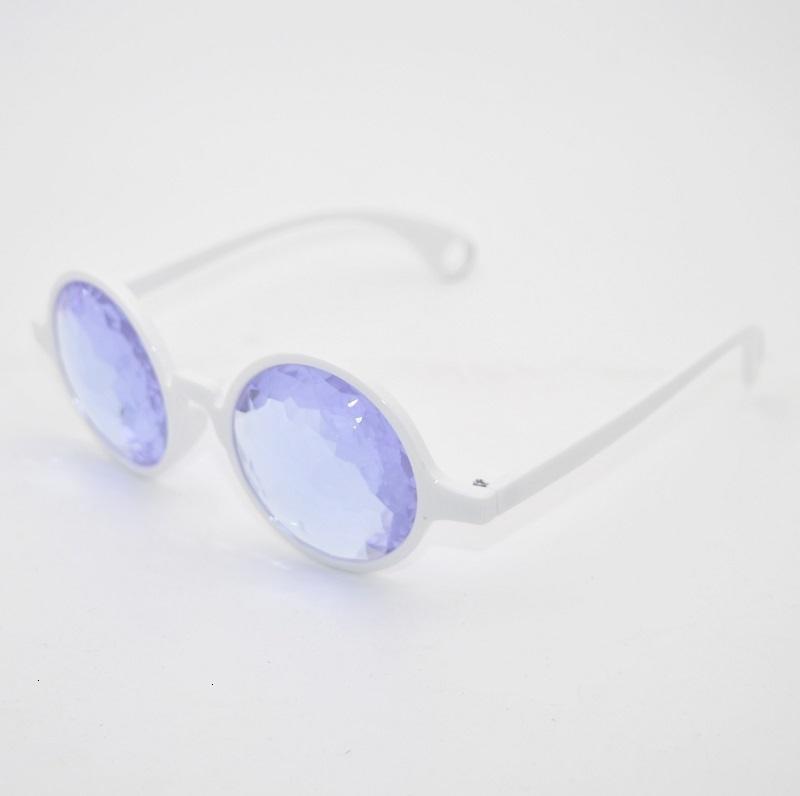 Occhiali da sole Cornice bianca Accoppiamento in vetro Lente di vetro Caleidoscopio