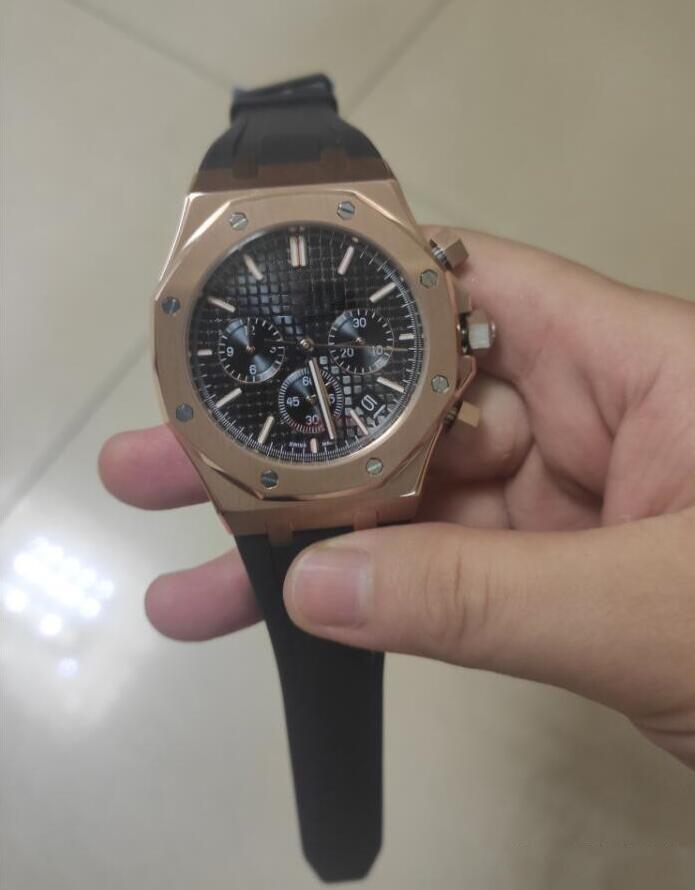 Orologi di lusso cinturino in gomma nera cronografo rosa oro 41mm 26320or.oo.d088cr.01 Quartz Mens Guarda la massima qualità