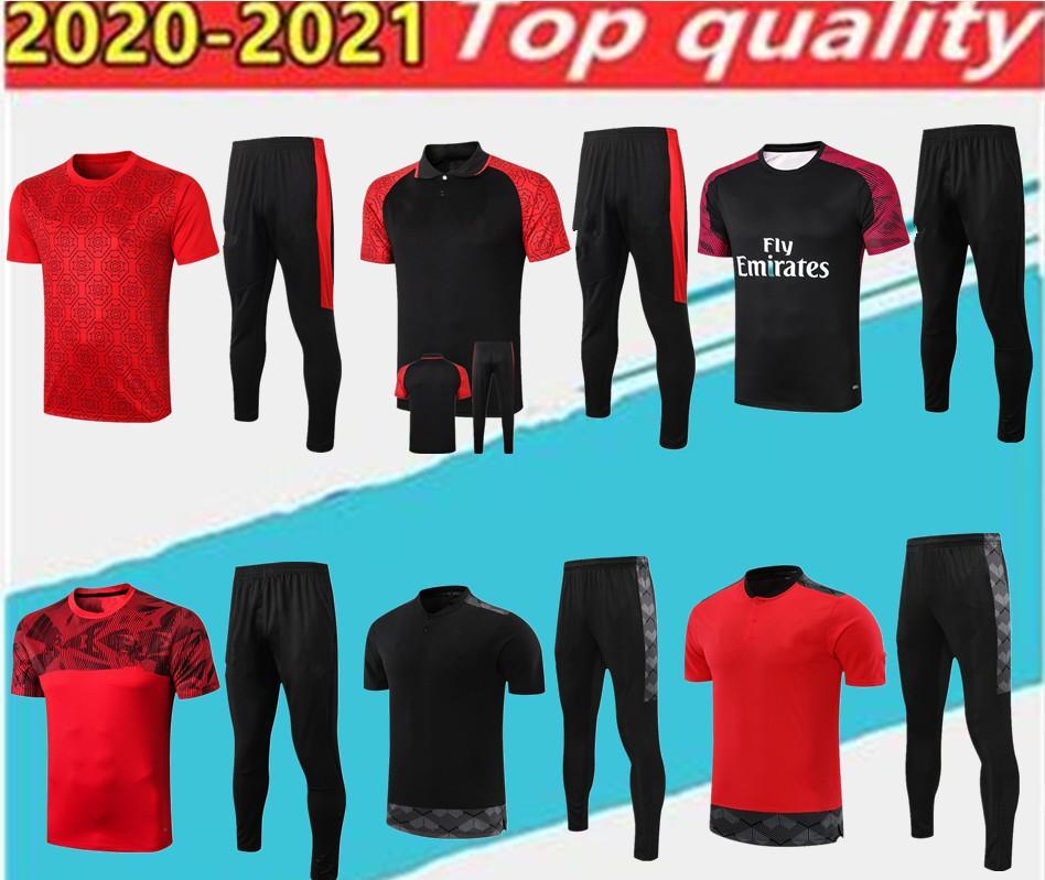 En Kaliteli Milano Polo Gömlek Eğitim Suit Futbol Forması. Kırmızı Kazak Kiti 20/21 Kısa Kollu Futbol Spor Boyutu S-2XL