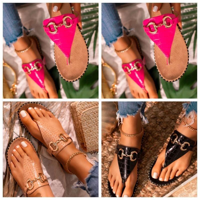 Summer Mujeres Zapatos Slipper Playa Pisos Flip Flops Open Toe Sandalias Sandalias de metal Decoración al aire libre Talla grande 37-41 Zapatillas