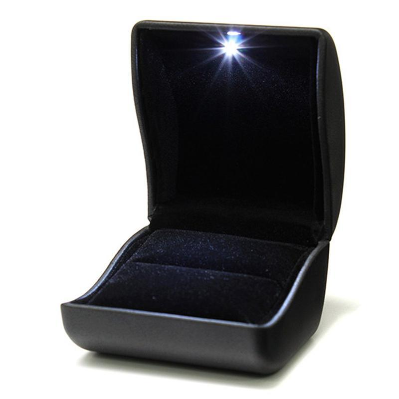 Jewelry Pouches, Bags Jewel Ring Box Gift Wedding Engagement Black With LED Light
