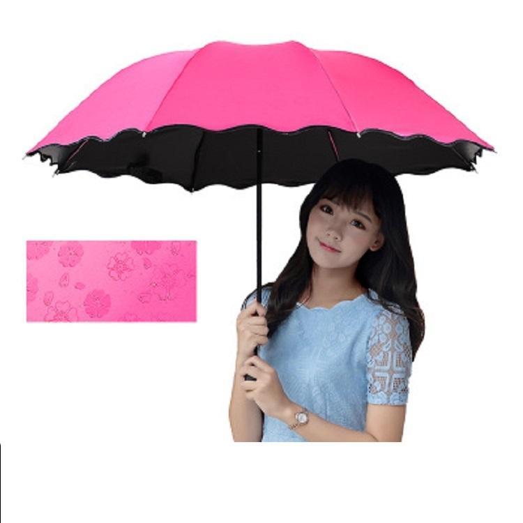 3-Folded Dustproof Anti-UV Umbrella Sunshade Umbrella Magic Flower Dome Sunscreen Portable Umbrellas By Sea T2I52166