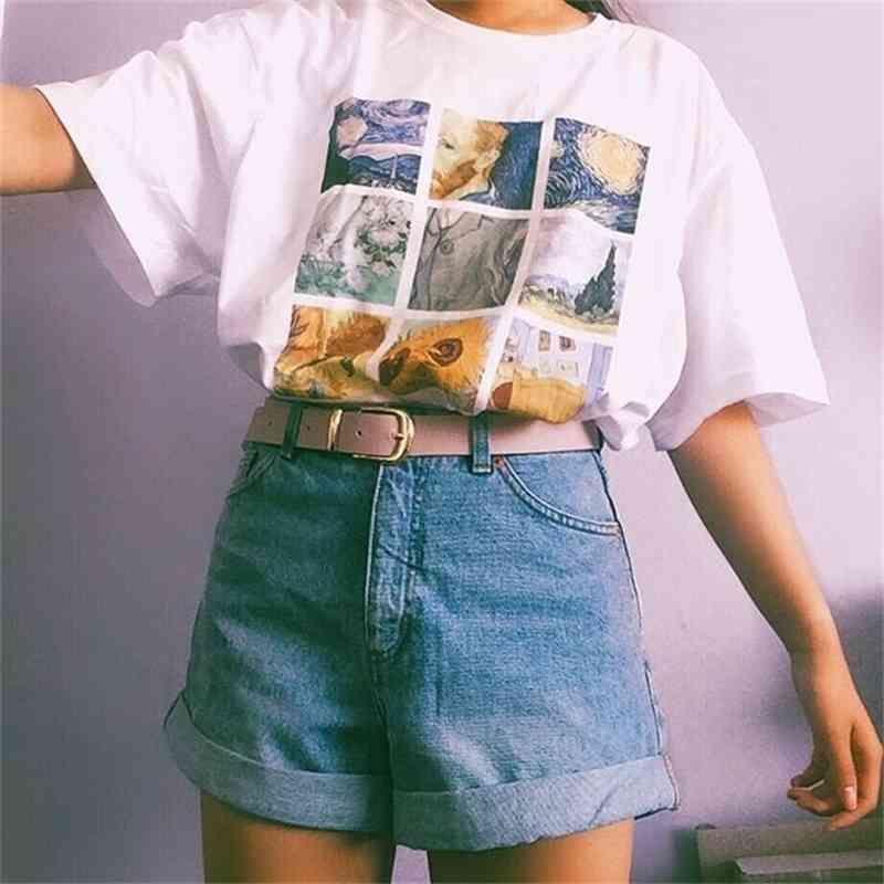 Kuakuayu HJN Van Gogh Boyama Vintage Moda Estetik Beyaz Tişört Sevimli Sanat Tee Hipster Grunge Top 210312