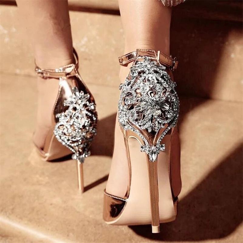 2021 Lujoso brillante Cristal brillo de cristal Boda zapatos de novia Bomba de fiesta High Heels Sexy P) EEP TOE RHINESTONE STILETTO Mujer Sandalias de verano AL9044